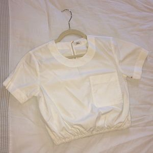 Aritzia Wilfred White Short Sleeve Crop Top Small